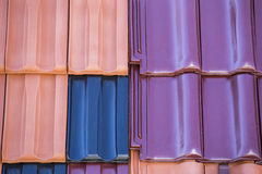 Closeup of colored clay roof tiles background Royalty Free Stock Photo