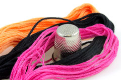 Closeup of colored cotton threads Stock Images