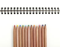Closeup colored pencils on white background Stock Photography