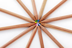 Closeup colored pencils on white background Royalty Free Stock Images