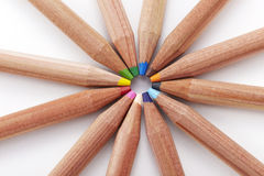Closeup colored pencils on white background Stock Photos