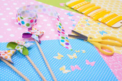 Closeup of colorful accessories for craft Royalty Free Stock Photos