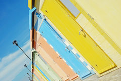 Closeup colorful beach huts Royalty Free Stock Image