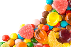 Closeup of colorful candies. On white background Royalty Free Stock Photos