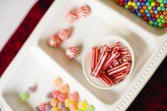 Closeup of Assorted and Colorful Chistmas Candy stock images