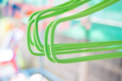Closeup colorful coat hangers Stock Photo