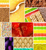 Closeup of colorful deserts in collage stock image