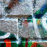 Closeup colorful detail graffiti wall Stock Image