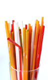 Closeup of Colorful drinking straws background, tubes for cockta Royalty Free Stock Photo