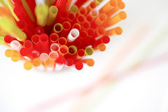 Closeup of Colorful drinking straws background, tubes for cockta Royalty Free Stock Photos