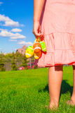 Closeup colorful Easter eggs in the hands of Stock Photos