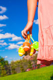 Closeup colorful Easter eggs in the hands of Royalty Free Stock Photography