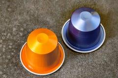 Colorful espresso coffee doses on vintage background. Closeup of colorful espresso coffee doses on vintage background stock images
