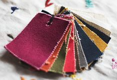 Closeup of colorful fabric samples Royalty Free Stock Image