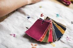 Closeup of colorful fabric samples Stock Photo