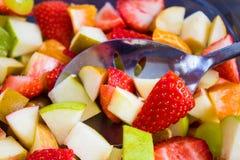 Closeup of Colorful Fruit Salad Stock Photo