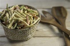 Closeup of colorful fusilli pasta stock images