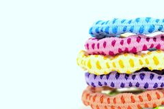 Closeup of colorful hair bands. Isolated on white background Stock Photography