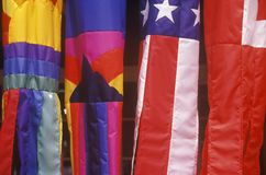 Closeup of colorful kites; one is the American flag in Kauai, Hawaii stock photos
