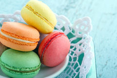 Closeup of colorful macaroons Royalty Free Stock Photos