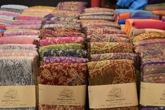 Closeup of colorful materials on a local market chatuchak market in Bangkok, Thailand, Asia. Closeup of colorful materials on a local market chatuchak market in Stock Images