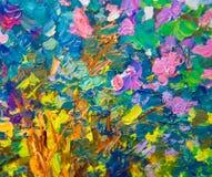 Closeup of colorful oil paint palette Stock Photo