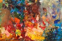 Closeup of colorful oil pallete. Closeup of bright colorful oil pallete Stock Photos