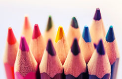 Closeup colorful pencil crayons vintage Stock Photos