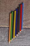 Closeup colorful pencils. Back to school concept. Background education office drawing art group rainbow design paint sharp palette crayon red wooden colored row stock photos