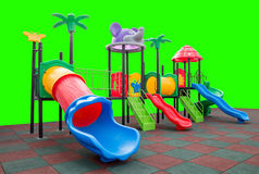 Closeup colorful playground with Prevent injuries yard on isolated green Royalty Free Stock Images
