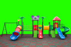 Closeup colorful playground with Prevent injuries yard on isolated green Stock Images
