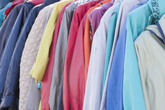 Closeup of colorful scarves hanging in the market. Stock Photography