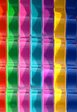Rainbow slide. Closeup of a colorful slippery slide Royalty Free Stock Images
