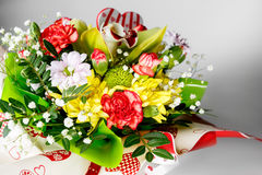 Closeup of colorful spring flowers bouquet on white background Stock Images