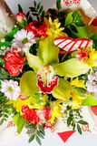 Closeup of colorful spring flowers bouquet on white background Royalty Free Stock Photo