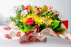 Closeup of colorful spring flowers bouquet on white background Royalty Free Stock Images