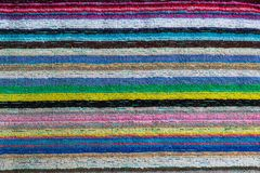 Closeup of a colorful striped beach towel royalty free stock photo