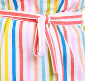 Closeup of colorful striped kitchen apron Royalty Free Stock Photo
