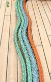 Closeup of colorful thick ropes on sailboat Royalty Free Stock Photo