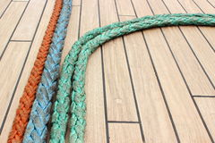 Closeup of colorful thick ropes on sailboat Stock Photo