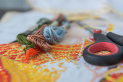 Closeup  colorful thread for cross-stitch embroidery. Royalty Free Stock Photography