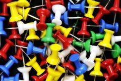 Closeup of colorful thumbtacks Royalty Free Stock Image