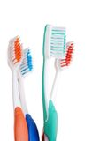 Closeup colorful toothbrush focus on green one Stock Photography