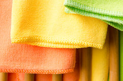 Closeup colorful  towels on wooden chair Stock Image