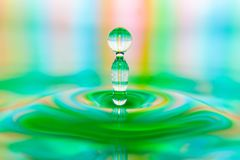 Colorful Water drop splash artful close-up royalty free stock photography