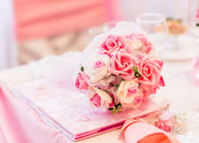Closeup of a colorful wedding bouquet. On the table Royalty Free Stock Images