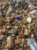 Closeup of colorful wet stones along the shoreline. Closeup of multi colored smooth stones and a single piece of cobalt seaglass on a rocky shoreline Stock Photo