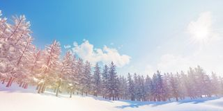 Closeup of colorful winter snowy forest background High-resolution 3D CG rendering illustration stock photography