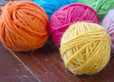 Closeup of colorful woolen yarn Stock Photography