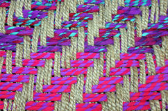 Closeup of a Colorful Woven Basket Stock Images